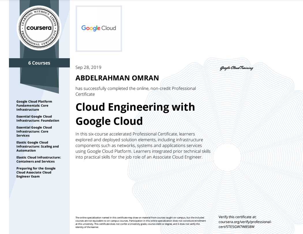 Cloud Engineering with Google Cloud Specialization - Abdelrahman Omran Certificate - 5TE5GW7W858W