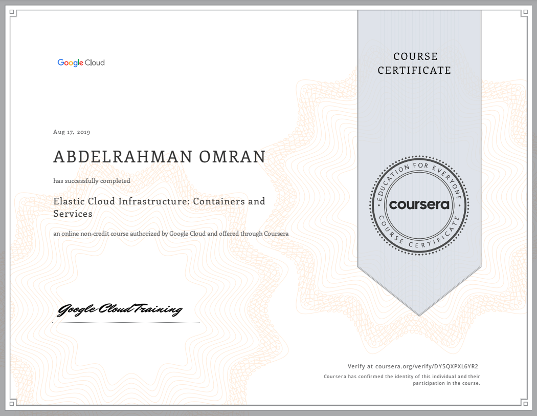 Elastic Cloud Infrastructure - Containers and Services - Abdelrahman Omran Certificate - DY5QXPXL6YR2