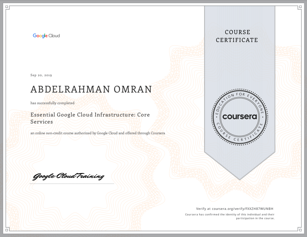Essential Google Cloud Infrastructure - Core Services - Abdelrahman Omran Certificate - FXXZH87WUNBH