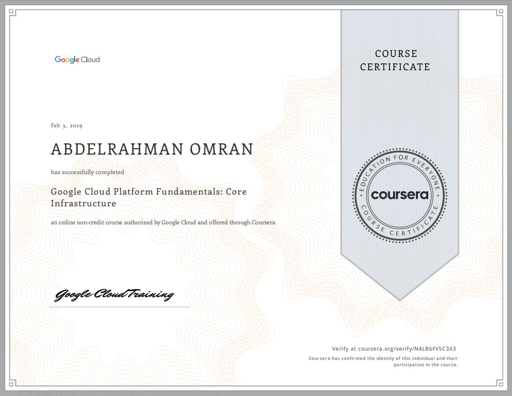 Google Cloud Platform Fundamentals - Core Infrastructure - Abdelrahman Omran Certificate - N4LB6FVSC3X3