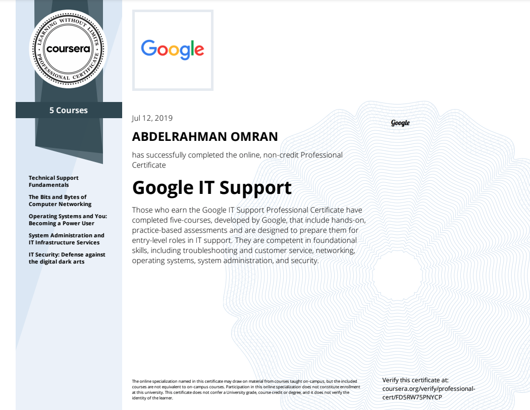 Google IT Support Professional Specialization - Abdelrahman Omran Certificate - FD5RW75PNYCP