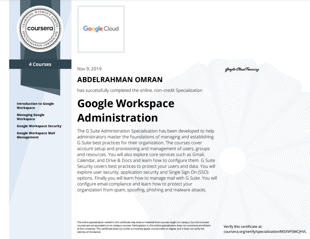 Google Workspace Administration Specialization - Abdelrahman Omran Certificate - MSXVF5MCJHVL