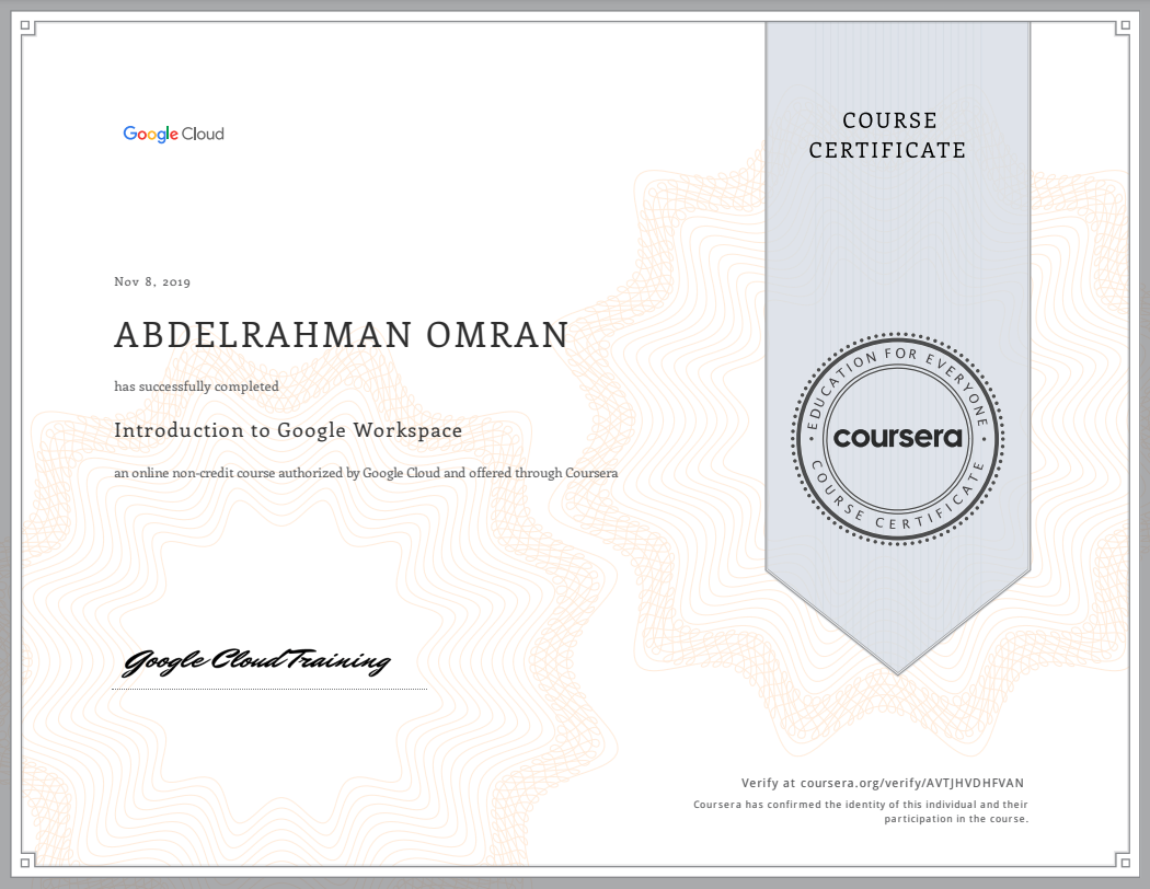 Introduction to Google Workspace - Abdelrahman Omran Certificate - AVTJHVDHFVAN