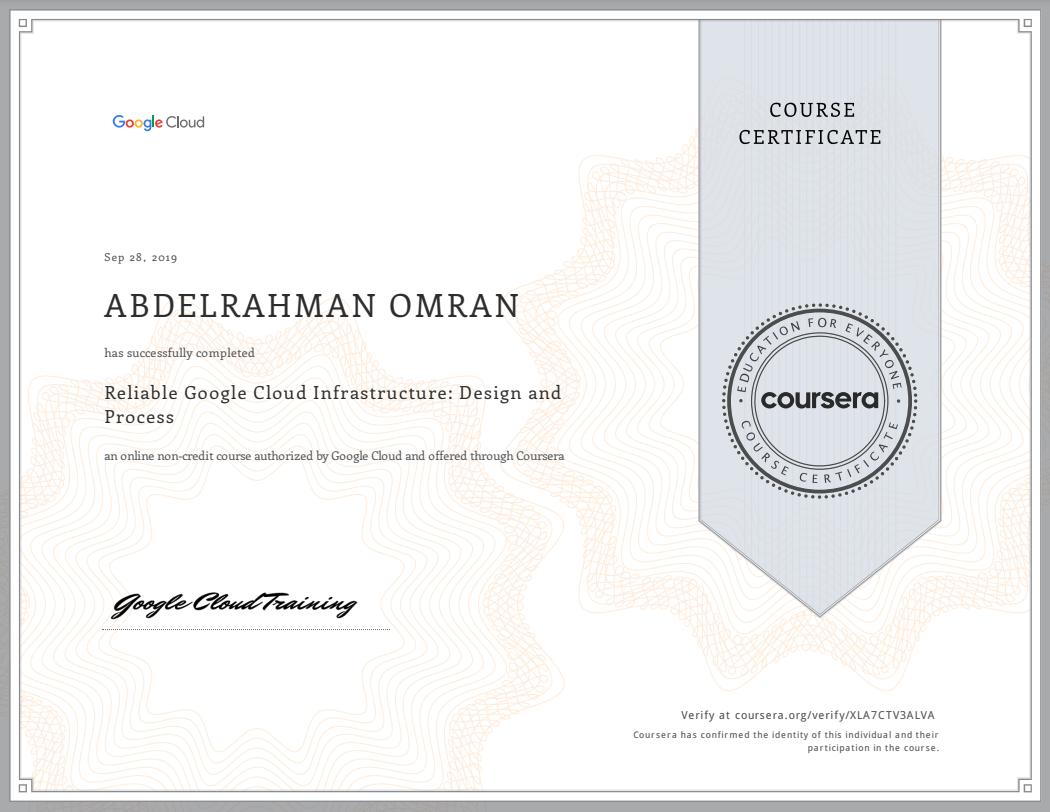 Reliable Google Cloud Infrastructure - Design and Process - Abdelrahman Omran Certificate - XLA7CTV3ALVA