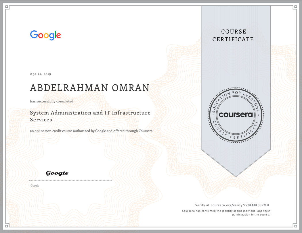 System Administration and IT Infrastructure Services - Abdelrahman Omran Certificate - 2Z9FA8L55RMB
