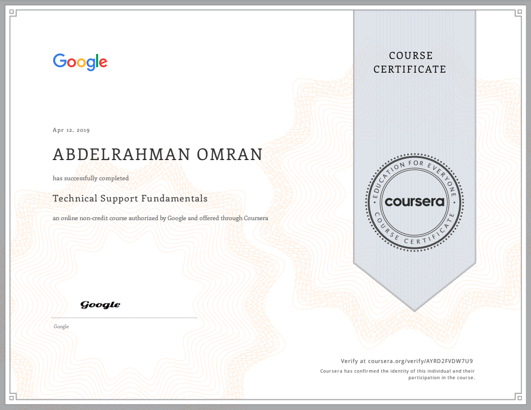 Technical Support Fundamentals - Abdelrahman Omran Certificate - AYRD2FVDW7U9